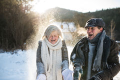 Beautiful senior couple blowing snow in sunny winter nature Royalty Free Stock Photography