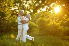 Beautiful senior couple dancing. On green grass in park royalty free stock photo