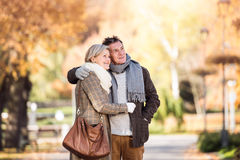 Beautiful senior couple hugging in park. Sunny autumn nature. Stock Image