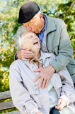 Beautiful senior couple kissing. In autumn Royalty Free Stock Photography