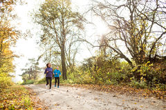 Beautiful senior couple running outside in sunny autumn forest. Beautiful active senior couple running together outside in sunny autumn forest Royalty Free Stock Photography