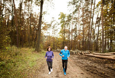 Beautiful senior couple running outside in sunny autumn forest Stock Image