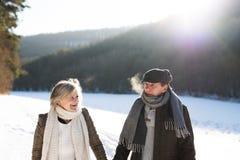 Beautiful senior couple on a walk on sunny winter day. Beautiful senior women and men on a walk in sunny winter nature Royalty Free Stock Photography