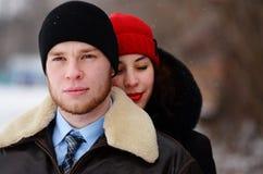 Beautiful senior couple on a walk, winter day royalty free stock photos