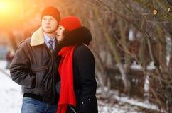 Beautiful senior couple on a walk, winter day stock photos