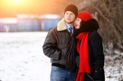 Beautiful senior couple on a walk, winter day stock images