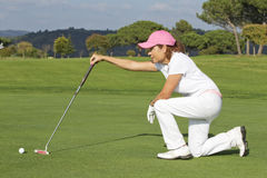 Beautiful senior female golf player Royalty Free Stock Image