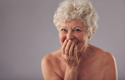 Beautiful senior female smiling Stock Photography