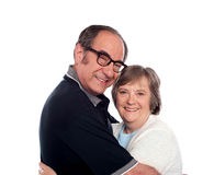 Beautiful senior love couple hugging Royalty Free Stock Images