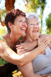 Beautiful senior mother and daughter Stock Photo