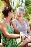 Beautiful senior mother and daughter chatting. Senior mother and daughter chatting and having fun royalty free stock image