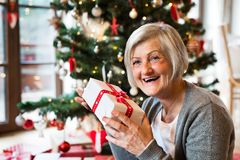 Senior woman in front of Christmas tree with present. Beautiful senior woman in front of illuminated Christmas tree inside her house giving or receiving present Royalty Free Stock Photography