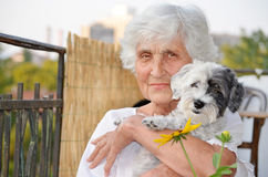 Beautiful senior  woman hugging her whitdog Stock Image