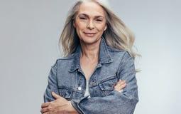 Beautiful senior woman looking confident stock photos