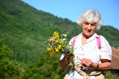 Beautiful senior woman in the mountain Royalty Free Stock Photo