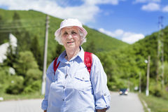 Beautiful senior woman in the mountain Stock Photos