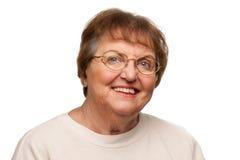 Beautiful Senior Woman Portrait on White Stock Photo