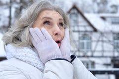 Beautiful senior woman. Posing outdoors in winter royalty free stock photo