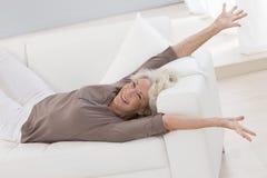 Beautiful senior woman relaxing Stock Image