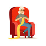 Beautiful senior woman sitting in the armchair and knitting vector Illustration Stock Photo