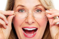 Beautiful senior woman wearing eyeglasses. Stock Photos