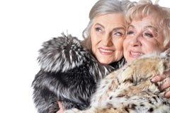 Portrait of beautiful senior women in fur coats. Beautiful senior women in fur coats on white background royalty free stock images