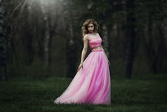 Beautiful sensual blond girl in pink long dress. Royalty Free Stock Photos