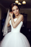 Beautiful sensual bride with dark hair in luxurious lace wedding dress Stock Photography