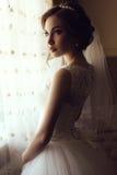 Beautiful sensual bride with dark hair in luxurious lace wedding dress. Fashion photo of beautiful sensual bride with dark hair in luxurious lace wedding dress Royalty Free Stock Photo