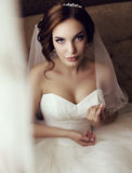Beautiful sensual bride with dark hair in luxurious lace wedding dress Royalty Free Stock Images