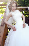 Beautiful sensual bride with dark hair in luxurious lace wedding dress Stock Image