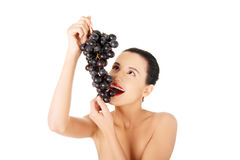 Beautiful sensual brunette eating grapes Royalty Free Stock Images
