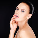 Beautiful sensual face of the adult  woman Stock Photos