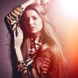 Beautiful sensual fashion woman. Multicolored pop art photo tone Stock Photography