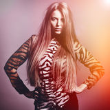 Beautiful sensual fashion woman. Multicolored pop art photo tone. D in warm colors Royalty Free Stock Photo