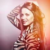 Beautiful sensual fashion woman. Multicolored pop art photo tone. D in warm colors Stock Photography