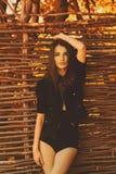 Beautiful sensual girl in black jacket royalty free stock images