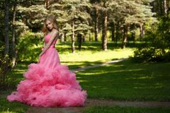 Sensual woman in pink evening dress with fluffy skirt is posing in botanical garden on the grass surrounded by the woods stock photography