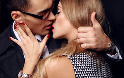 Beautiful sensual impassioned couple. office love story Royalty Free Stock Images