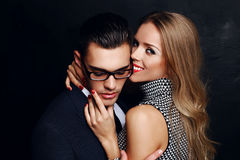 Beautiful sensual impassioned couple. office love story Stock Image