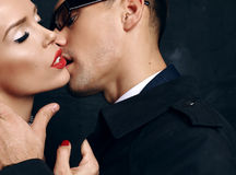 Beautiful sensual impassioned couple. office love story Royalty Free Stock Image