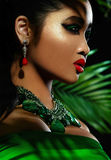 Beautiful sensual model in green cloth Royalty Free Stock Image