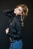 Beautiful sensual sexy girl blonde in a leather jacket Stock Photo