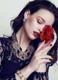 Beautiful sensual woman with dark hair and bright makeup Stock Images