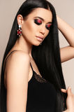 Beautiful sensual woman with dark hair and bright makeup Royalty Free Stock Photos