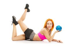 Beautiful sensual woman doing fitness with ball Stock Image