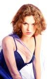 Beautiful sensual woman in high-key. Young sensual woman in high-key. Isolated on white background Royalty Free Stock Photos