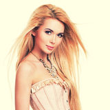 Beautiful sensual woman with long blonde hair. Royalty Free Stock Image