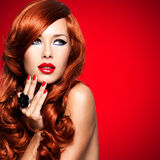 Beautiful sensual woman with long red hairs. Royalty Free Stock Images