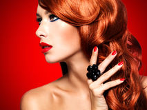 Beautiful sensual woman with long red hairs. Royalty Free Stock Photo